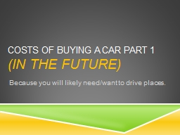 Costs of Buying a Car Part 1