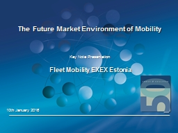 The Future Market Environment of Mobility