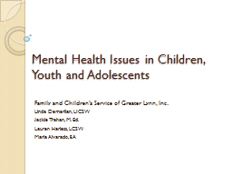 Mental Health Issues in Children, Youth and Adolescents