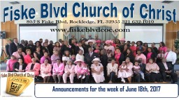 Announcements for the week of