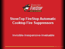 StoveTop FireStop Automatic Cooktop Fire Suppressors