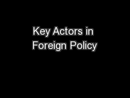 Key Actors in Foreign Policy
