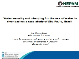 Water security and charging for the use of water in river b