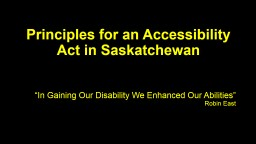 Principles for an Accessibility Act in Saskatchewan
