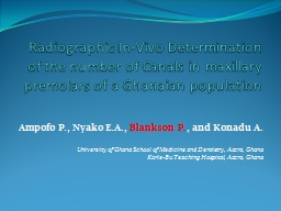 Radiographic In-Vivo Determination of the number of Canals