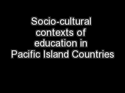 Socio-cultural contexts of education in Pacific Island Countries