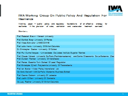 IWA Working Group On Public Policy And Regulation For Resilience
