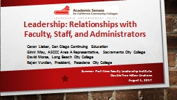 Leadership: Relationships with Faculty, Staff, and Administrators PowerPoint PPT Presentation