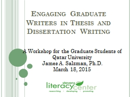 Engaging Graduate Writers in Thesis and Dissertation Writing