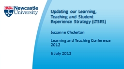 Updating our Learning, Teaching and Student Experience Strategy (LTSES)