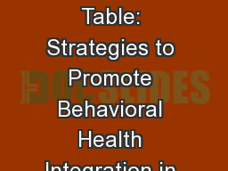 Claiming a Seat at the Table: Strategies to Promote Behavioral Health Integration in Healthcare Ref PowerPoint PPT Presentation