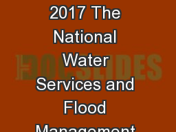 20 September 2017 The National Water Services and Flood Management Conference 2017