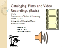 Cataloging Films and Video Recordings (Basic)