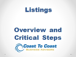 Listings Overview and Critical Steps