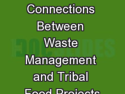 Session  6 : Connections Between Waste Management and Tribal Food Projects