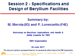Session 2 - Specifications and Design of Beryllium Facilities