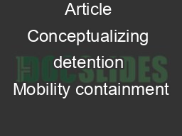 Article Conceptualizing detention Mobility containment