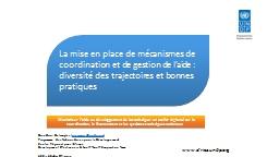Maximiser l'aide au développement de la statistique: un atelier régional sur la coordination,