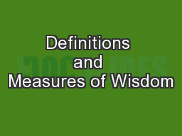Definitions and Measures of Wisdom