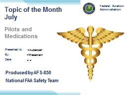 Topic of the Month July Pilots and Medications PowerPoint PPT Presentation