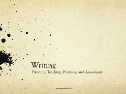 Writing Planning, Teaching, Practising and Assessment