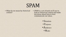 SPAM What do we mean by