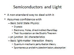 Semiconductors  and Light PowerPoint PPT Presentation