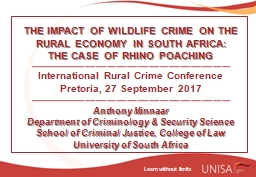 THE  IMPACT OF WILDLIFE CRIME ON THE RURAL ECONOMY IN SOUTH AFRICA: