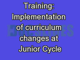 ETBI BOM Training: Implementation of curriculum changes at Junior Cycle