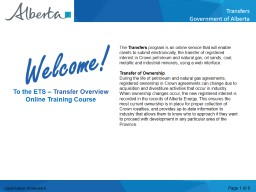 The  Transfers  program is an online service that will enable clients to submit electronically, the PowerPoint PPT Presentation