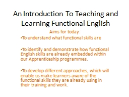 An Introduction To Teaching and Learning Functional English