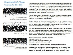Residential Life Team Vacancies for PowerPoint PPT Presentation
