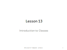 Lesson 13 Introduction to Classes