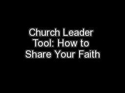 Church Leader Tool: How to Share Your Faith