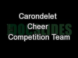 Carondelet Cheer Competition Team