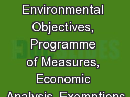 Module 3: Environmental Objectives, Programme of Measures, Economic Analysis, Exemptions