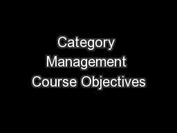 Category Management Course Objectives