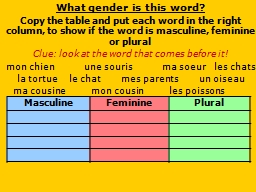 What gender is this word? PowerPoint PPT Presentation
