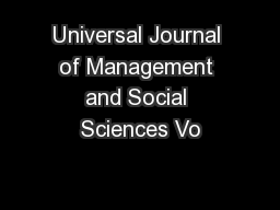 Universal Journal of Management and Social Sciences Vo