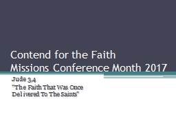 Contend for the Faith  Missions Conference Month 2017