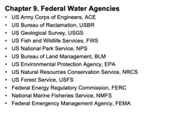 Chapter 9 Federal Water Agencies PowerPoint PPT Presentation
