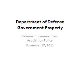 Department of Defense Government Property PowerPoint PPT Presentation