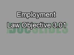 Employment Law Objective 3.01