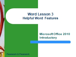 1 Word Lesson 3 Helpful Word Features PowerPoint PPT Presentation