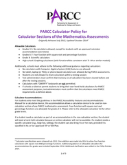 of  PARCC Calculator Policy for Calculator Sections o