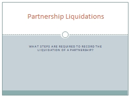 What steps are required to record the liquidation of a partnership?