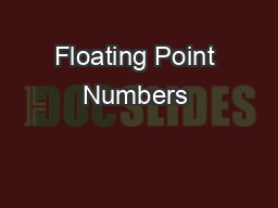 Floating Point Numbers & Parallel Computing