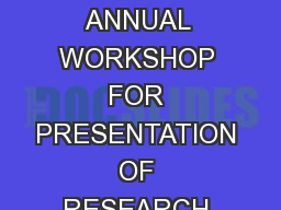 THE NATIONAL IRRIGATION BOARD (NIB) ANNUAL WORKSHOP FOR PRESENTATION OF RESEARCH FINDINGS AND PROPO