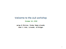 Welcome to the ALE workshop