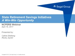 State Retirement Savings Initiatives PowerPoint PPT Presentation